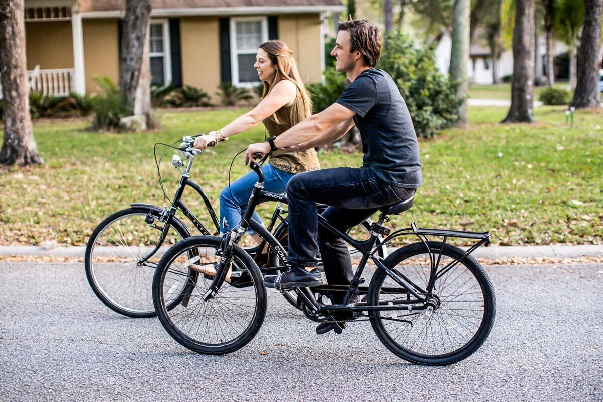 jen and husband riding bikes with more energy from diet