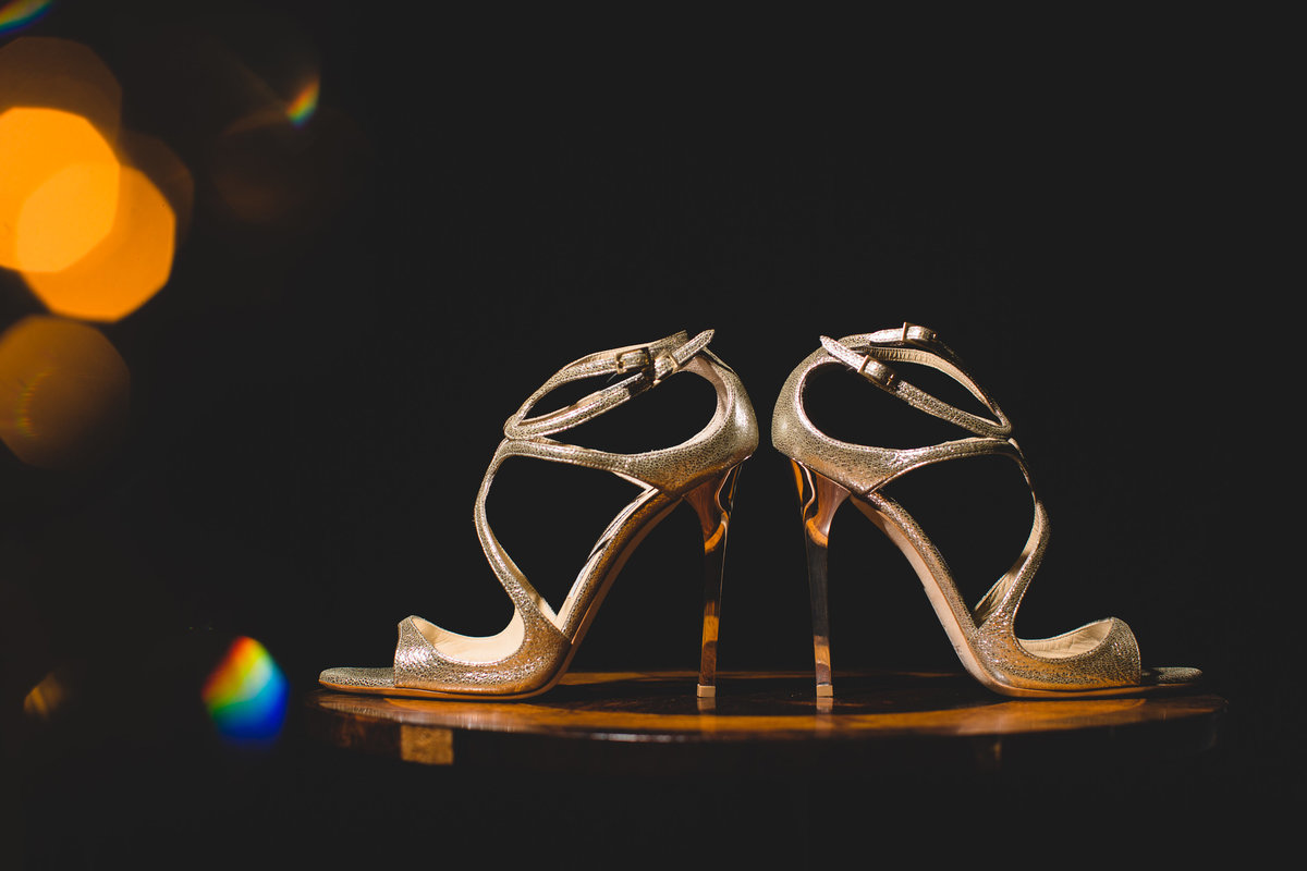 jimmy choo wedding shoes lit form above