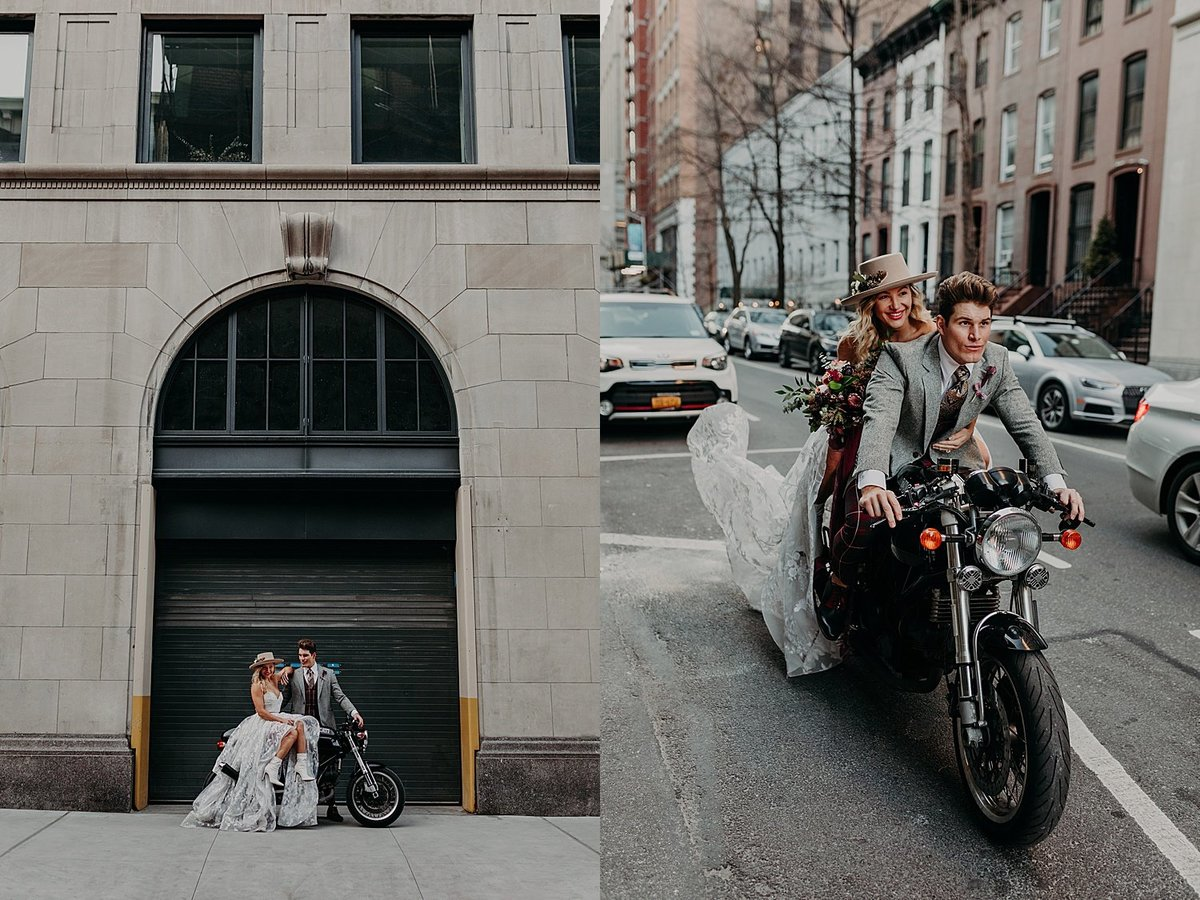 Hayley Paige and Conrad Louis ride a motorcycle through the streets of New York City