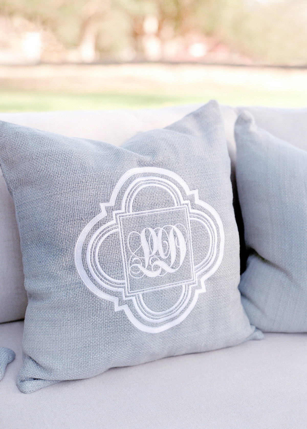 Monogrammed grey pillows for Cavallo Point wedding by Jenny Schneider Events.