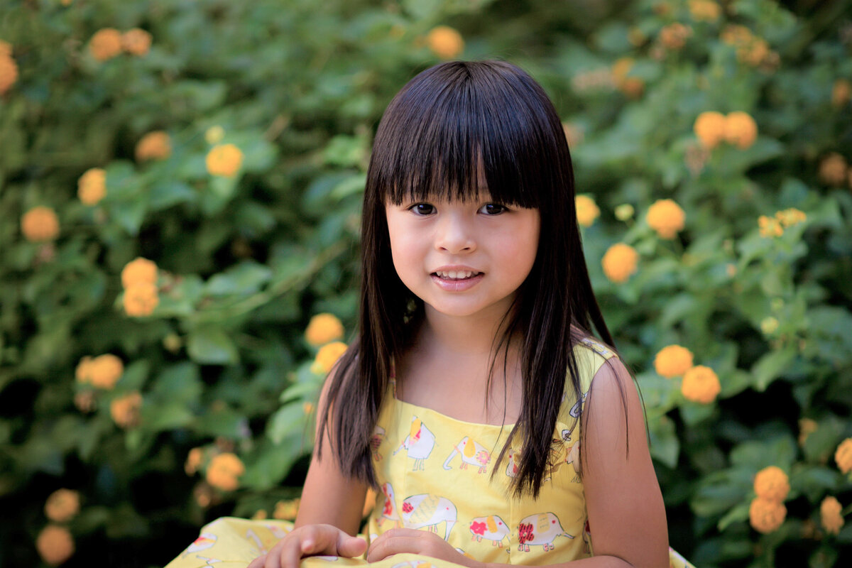 pretty asian girl in yellow flowers