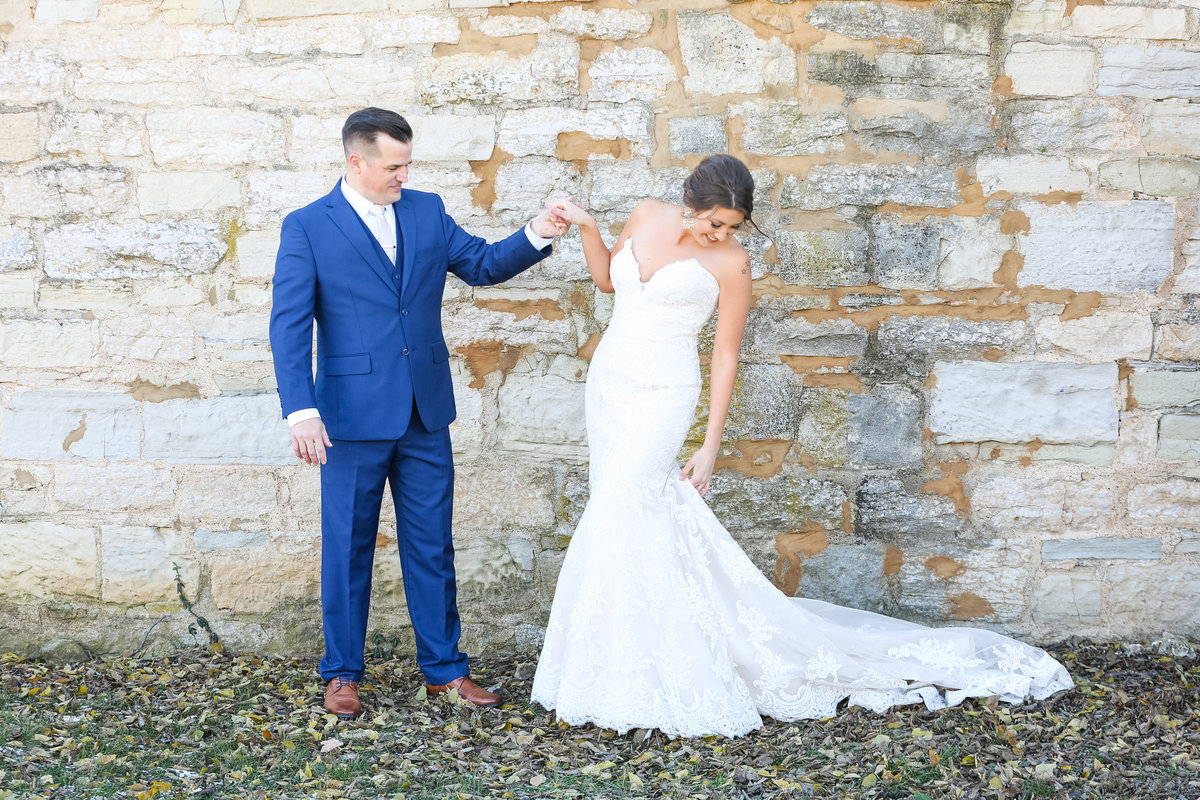 Romantic Fall Elopement  bride and groom in blue suit at Greensfelder County Park  in St. Louis  by Amy Britton Photography Photographer in St. Louis
