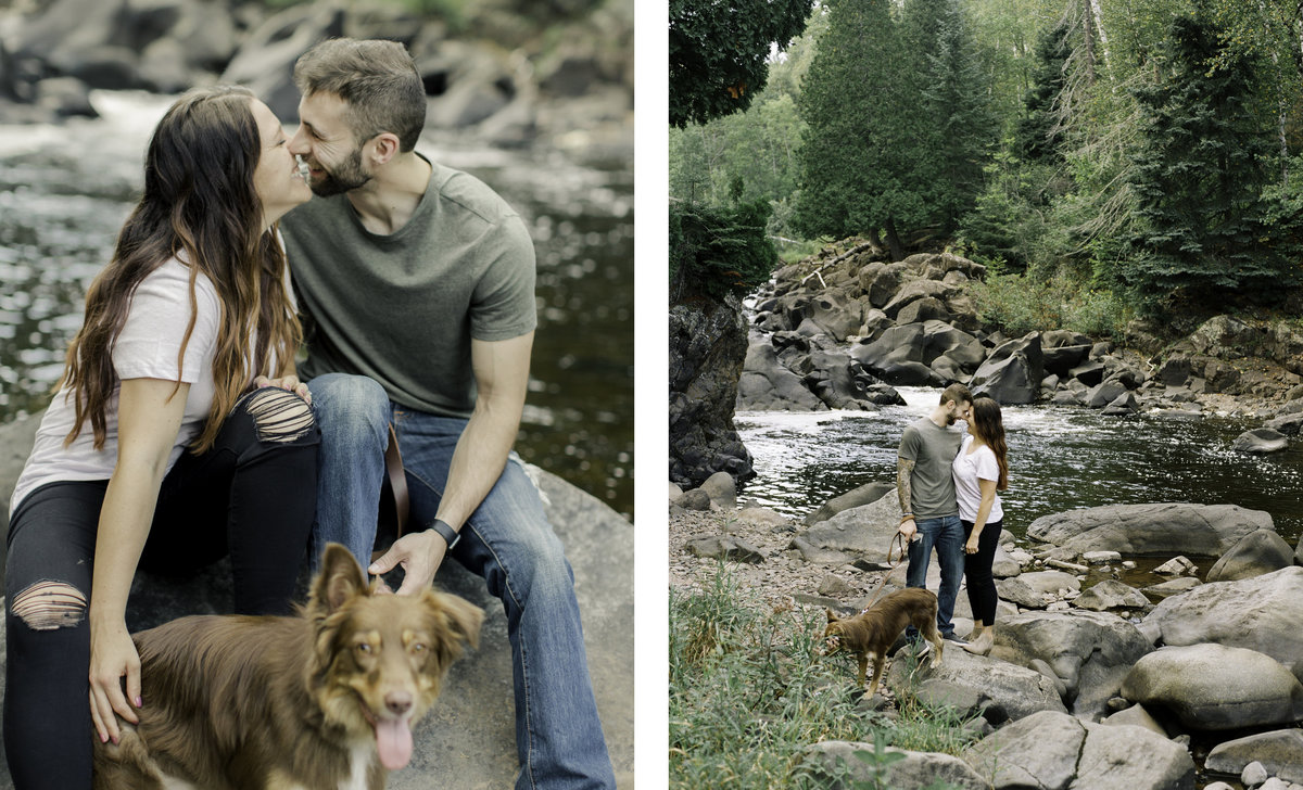two images of couple kissing while holding dog and walking together along the river bank of summer park