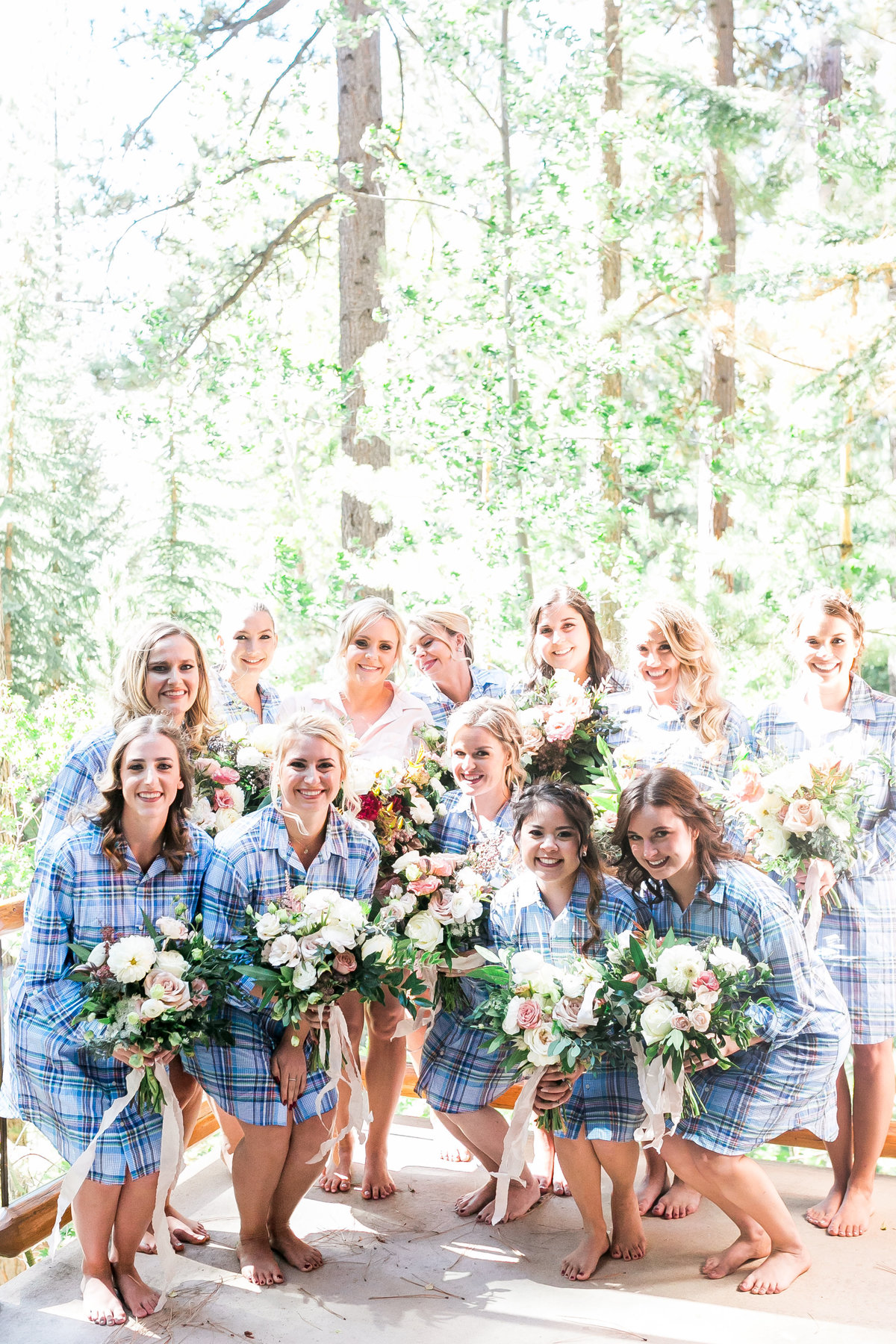 bridesmaids flannel shirt outfit in lake tahoe