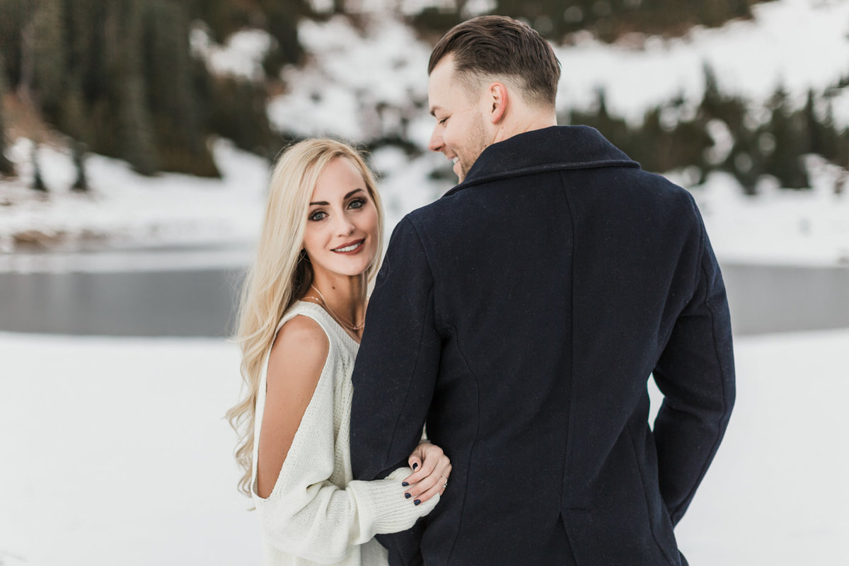 Snowy Mount Rainier Engagement Photos-26