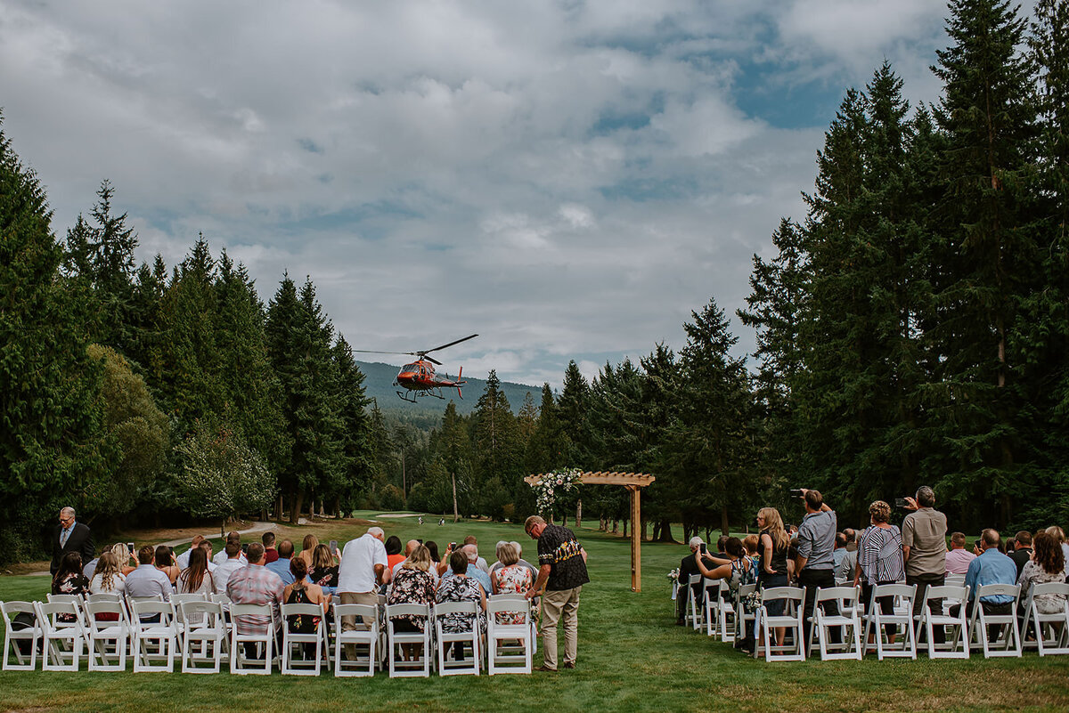 Couple during their ceremony  at their Roerts Creek wedding on the Sunshine Coast B.C