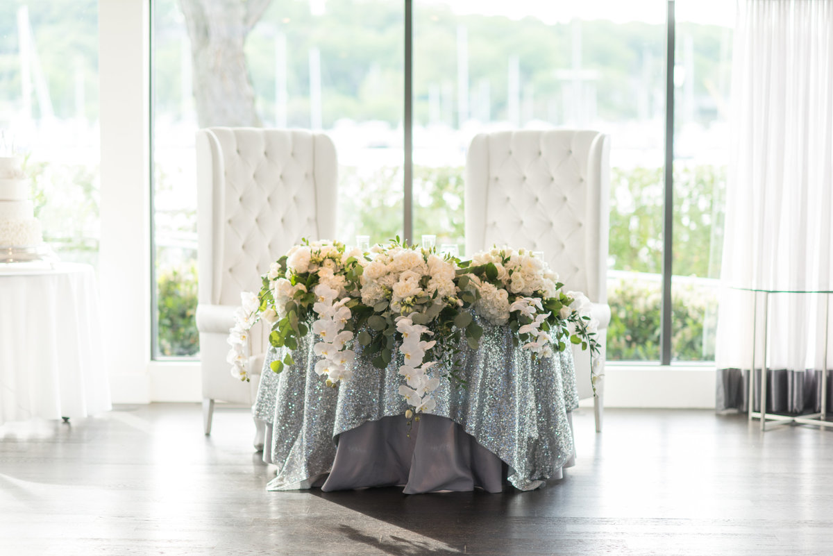 The bride and groom's table at Harbor Club at Prime