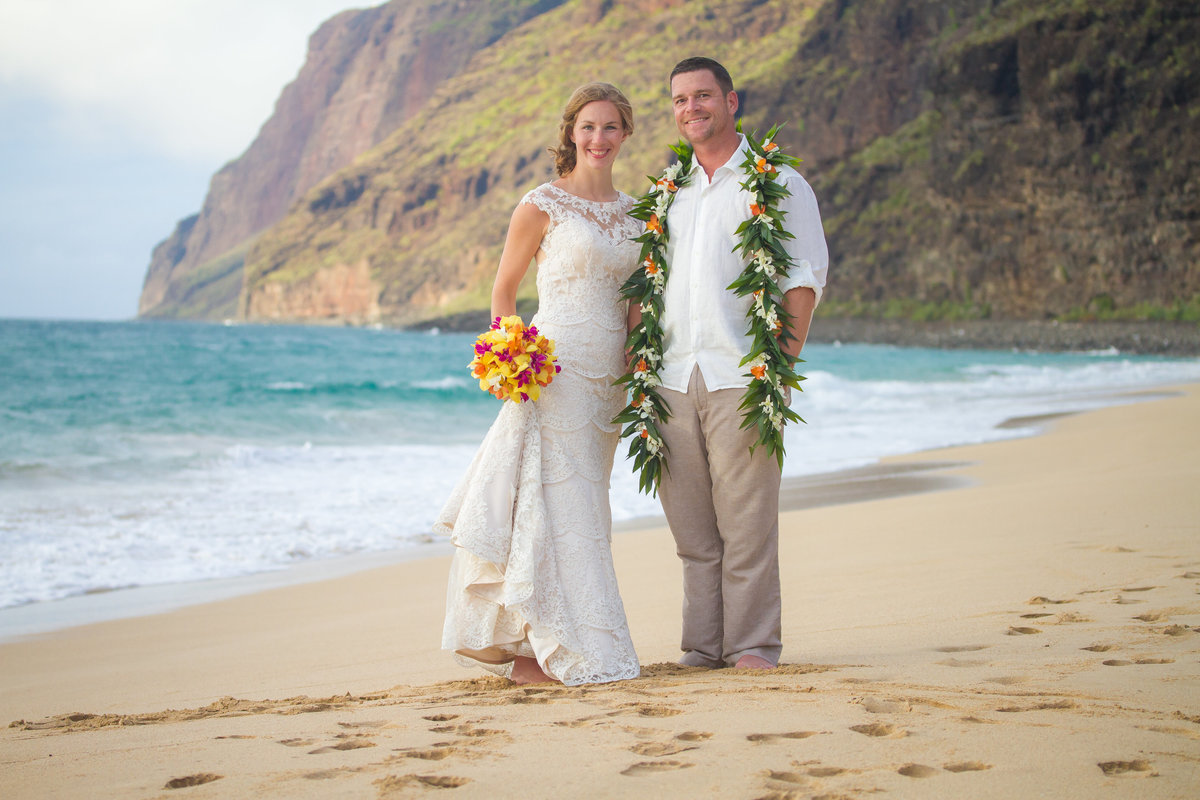 Happy couple just married in Kauai.