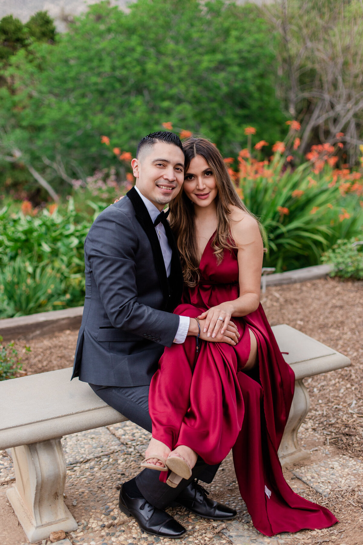UC Riverside Botanical Gardens, Engagement Photography, Riverside Phototgrapher, Garden Engagement, Couple Photography, Red Dress-75