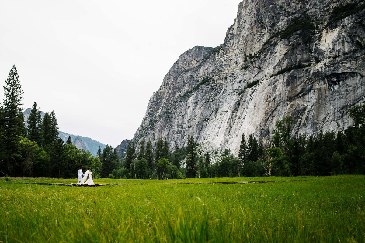 gorgeous portrait of bride and groom  aT YOSEMITE NATIONAL PARK