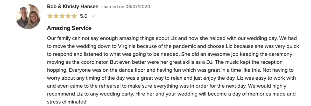Five Star Review of Liz Daley Events