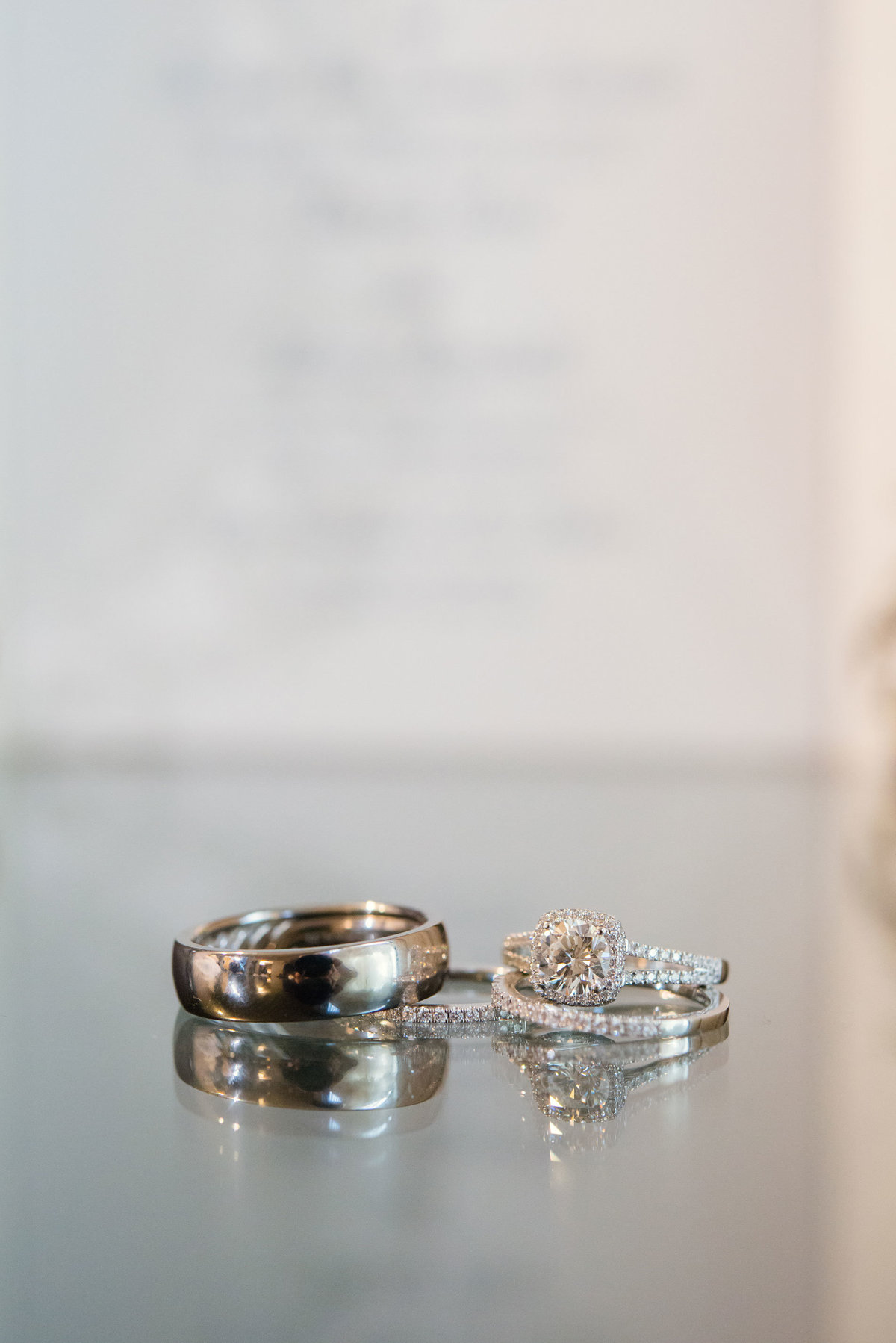 Wedding bands and engagement ring at The Inn at Fox Hollow