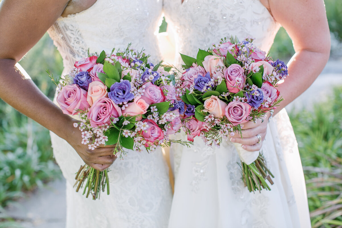 two bridal bouquets