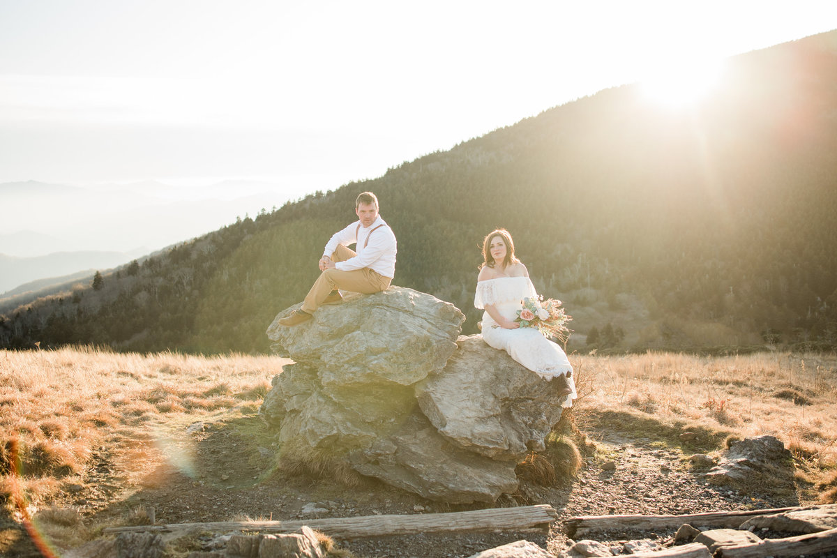 Roan Mountain Adventure Elopement Couples Photo on a rock at golden hour
