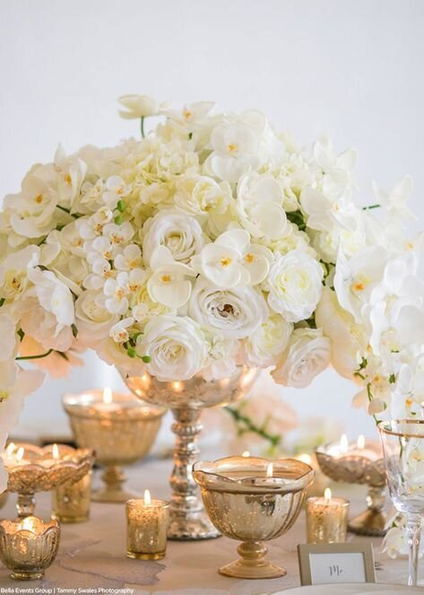 orchid gold white centerpiece