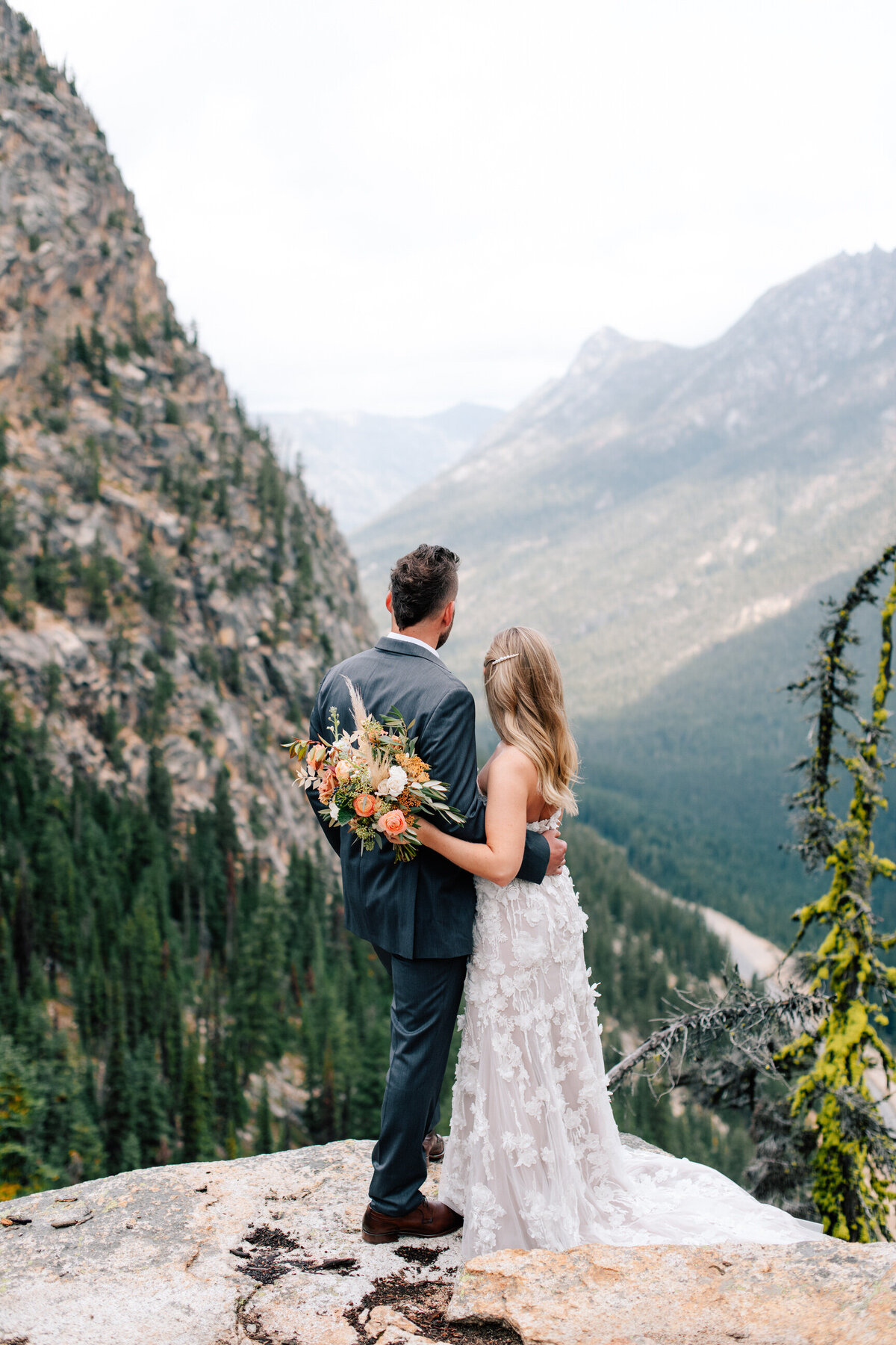 Bride and groom at Washington Pass Overlook on the North Cascades Highway