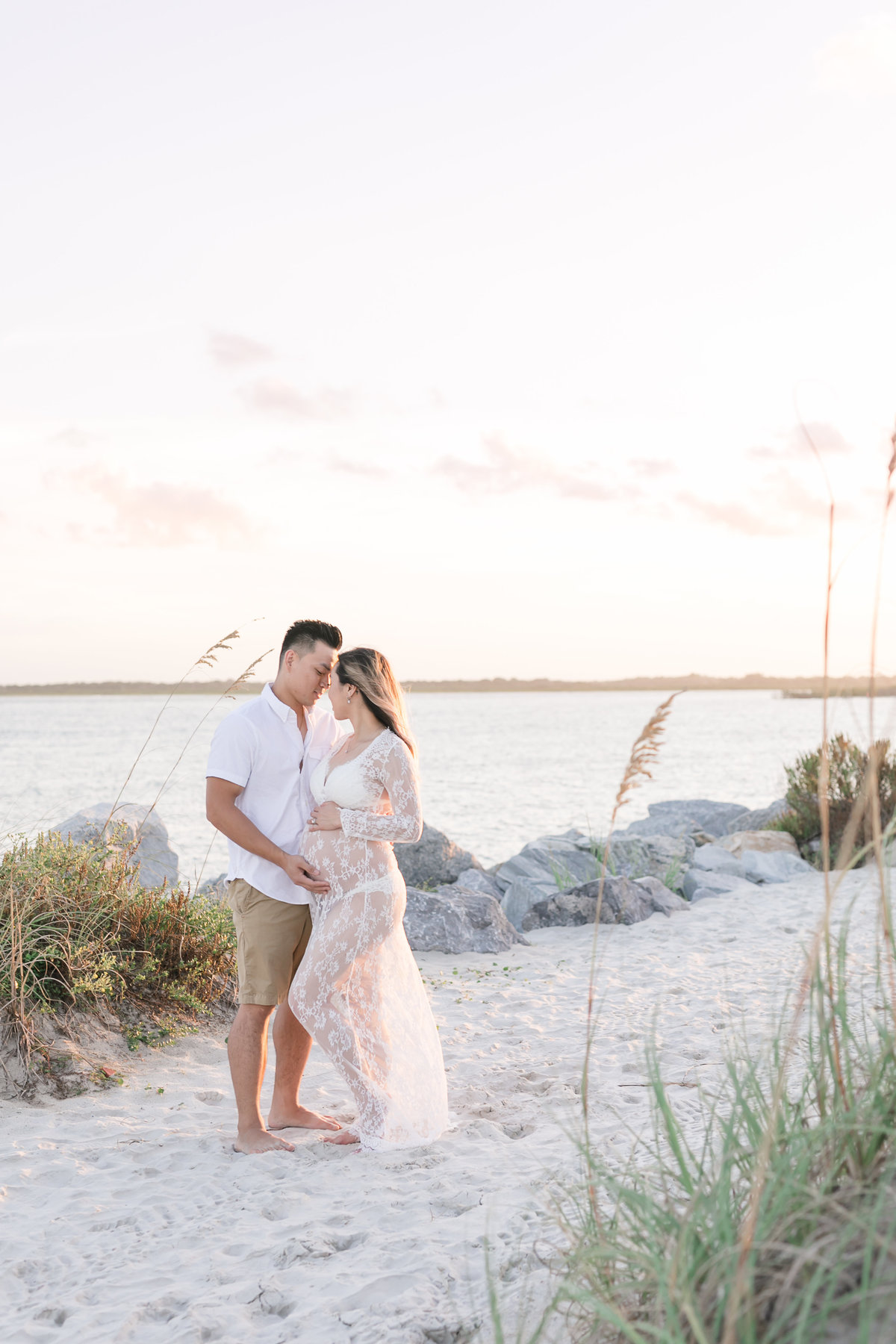 sunset beach maternity photo shoot