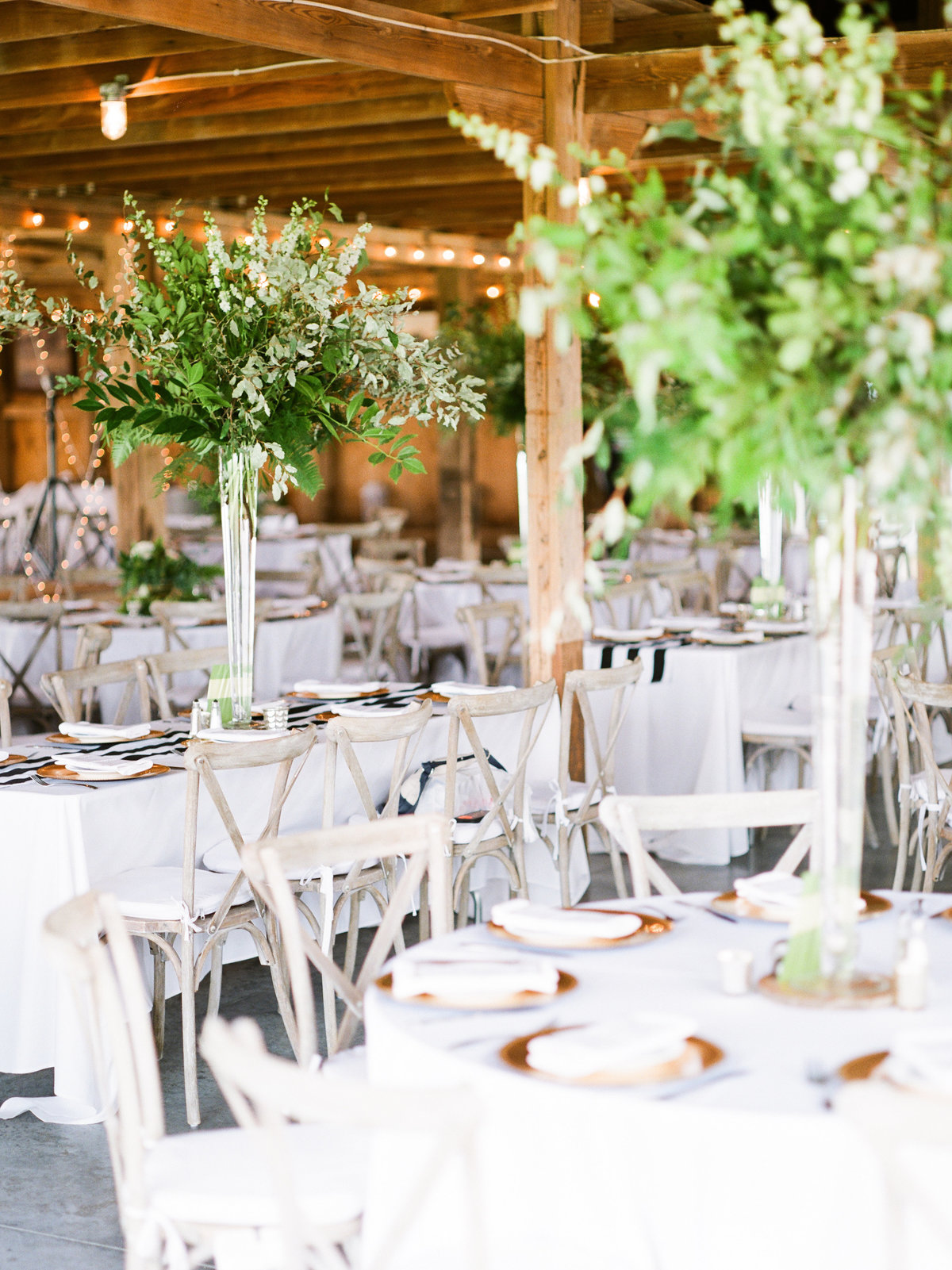 Pretty Prairie Farm Ohio wedding greenery centerpieces