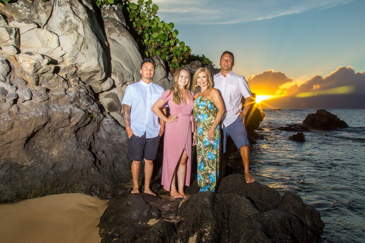 Capture Aloha Photography, Maui Family Portraits standing at the rocks on the beach