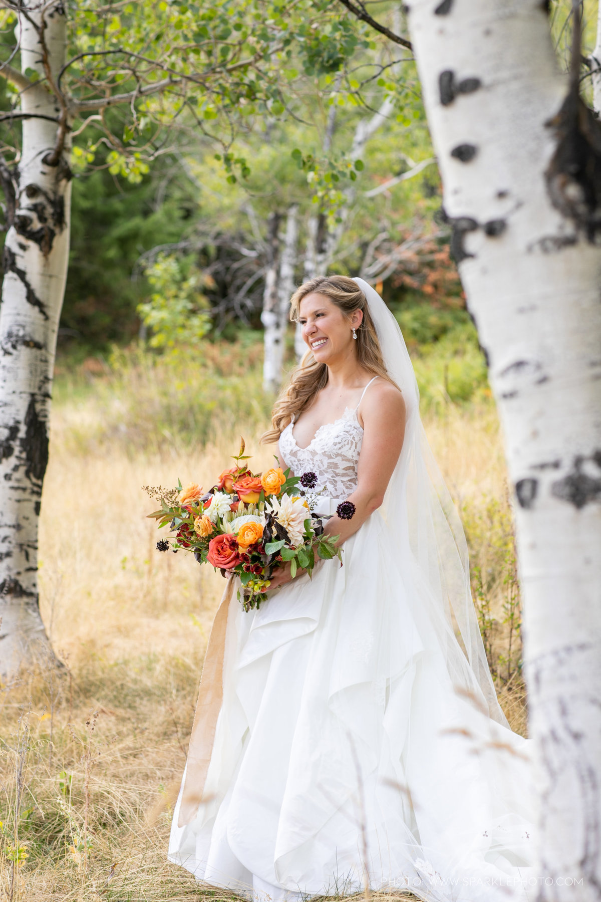 Utah Florist_Sundance_wedings_Orange Bouquet_Luxe Mountain_Weddings_Artisan Bloom--9