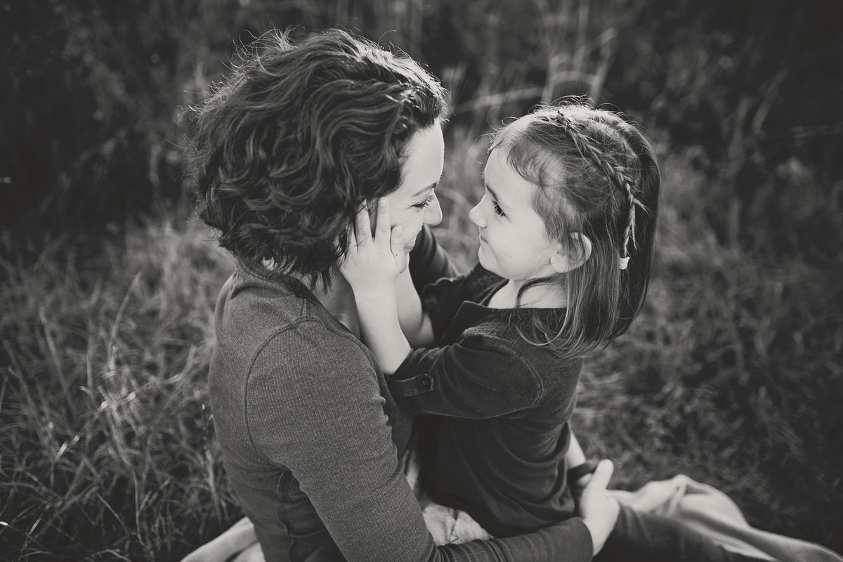 mother daughter black and white
