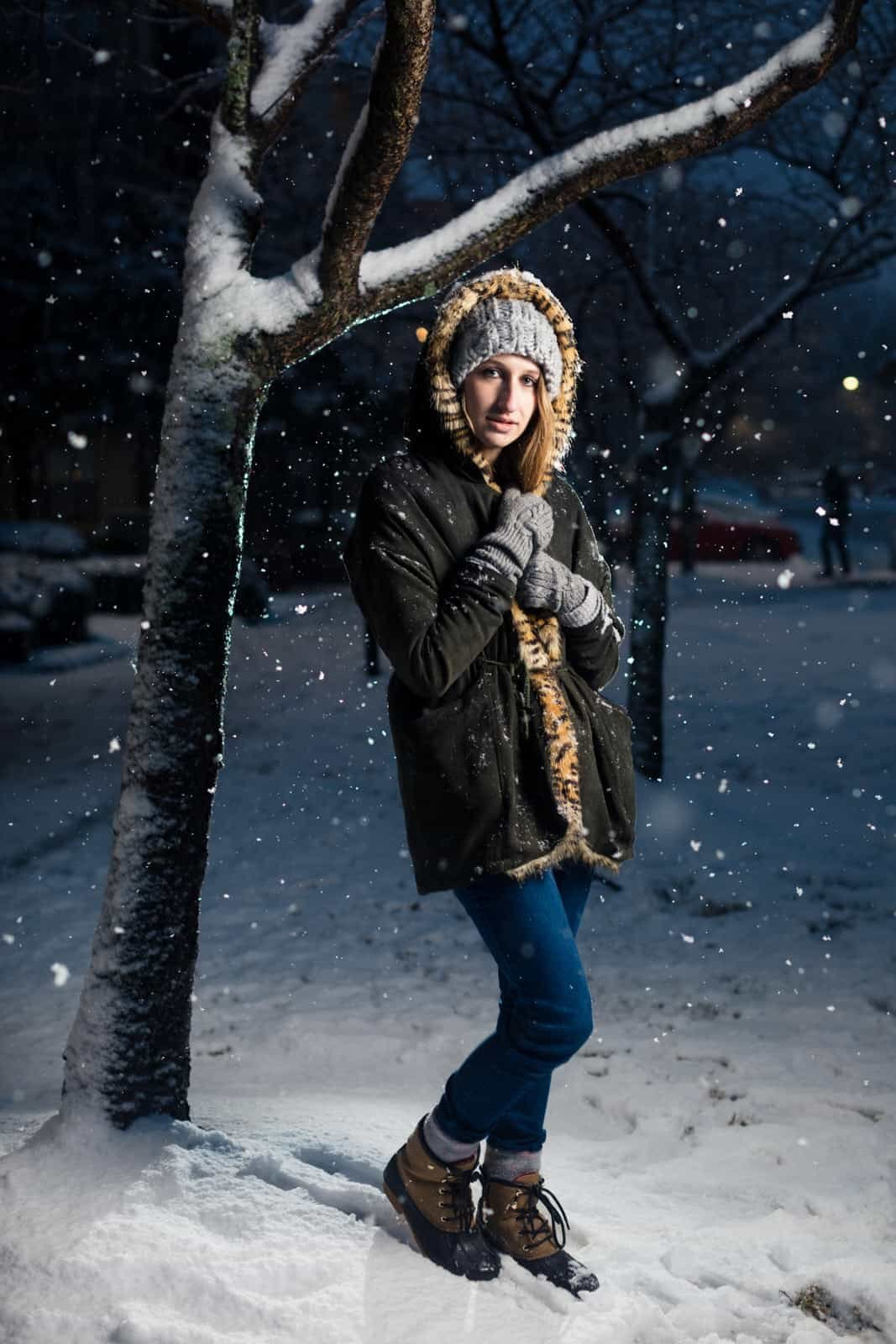 portrait of girl standinig in snow of Atlanta park