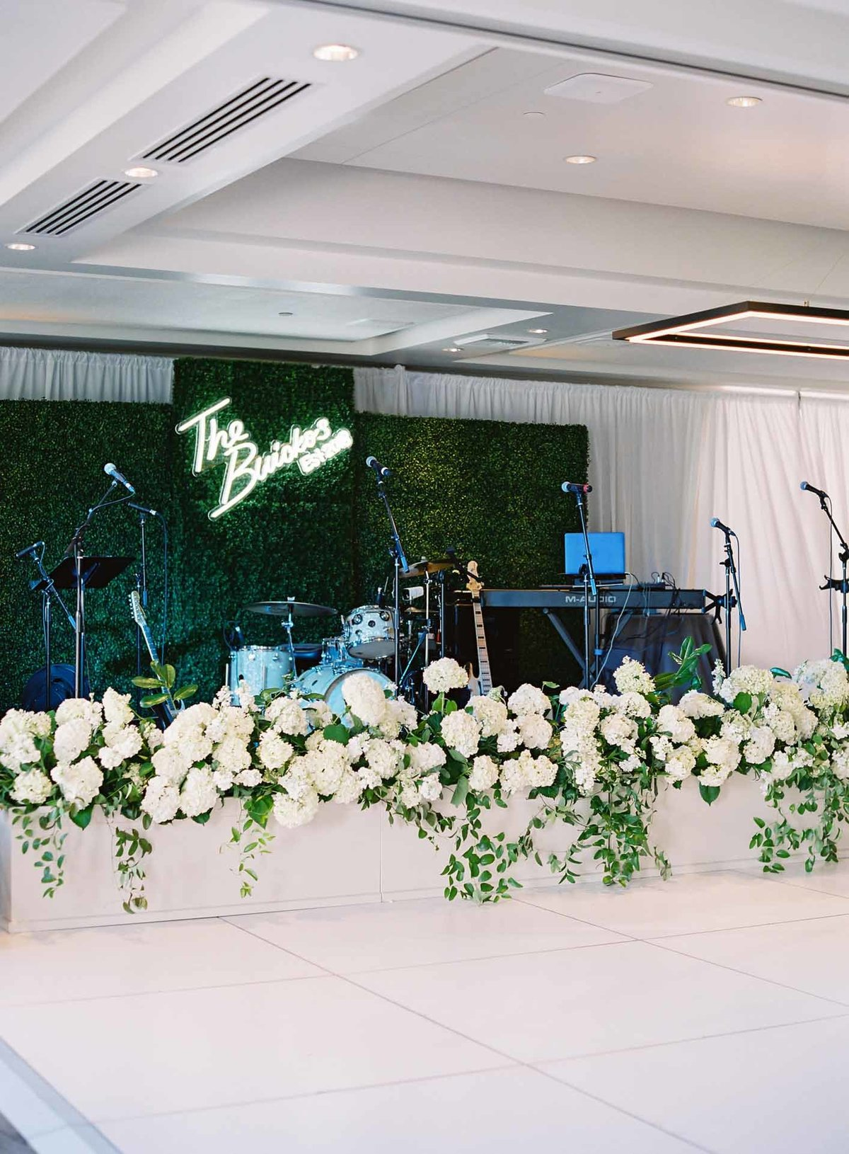 This wedding reception band stage at Overlake Golf and Country Club has serious WOW factor!