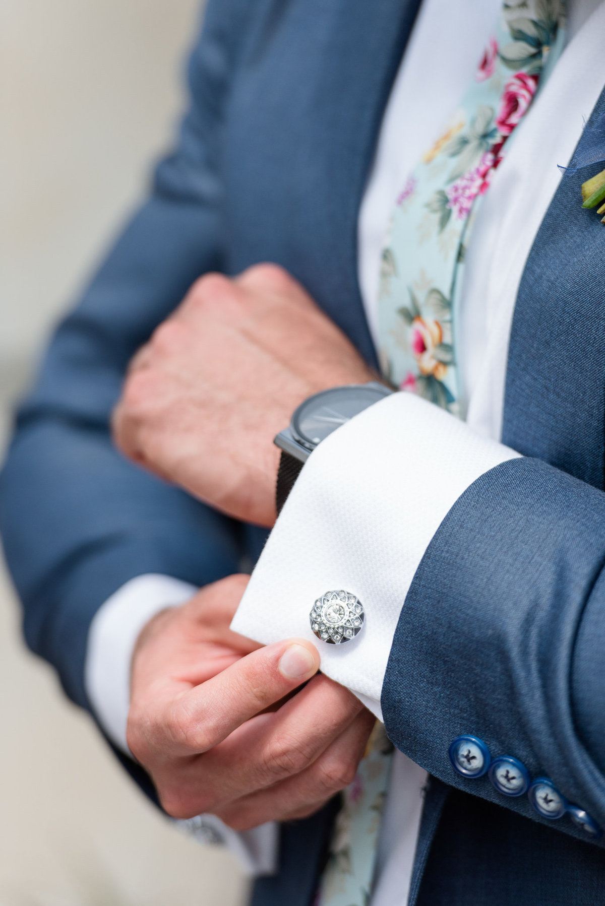 suit and cufflinks shot, garden and nursery in utah