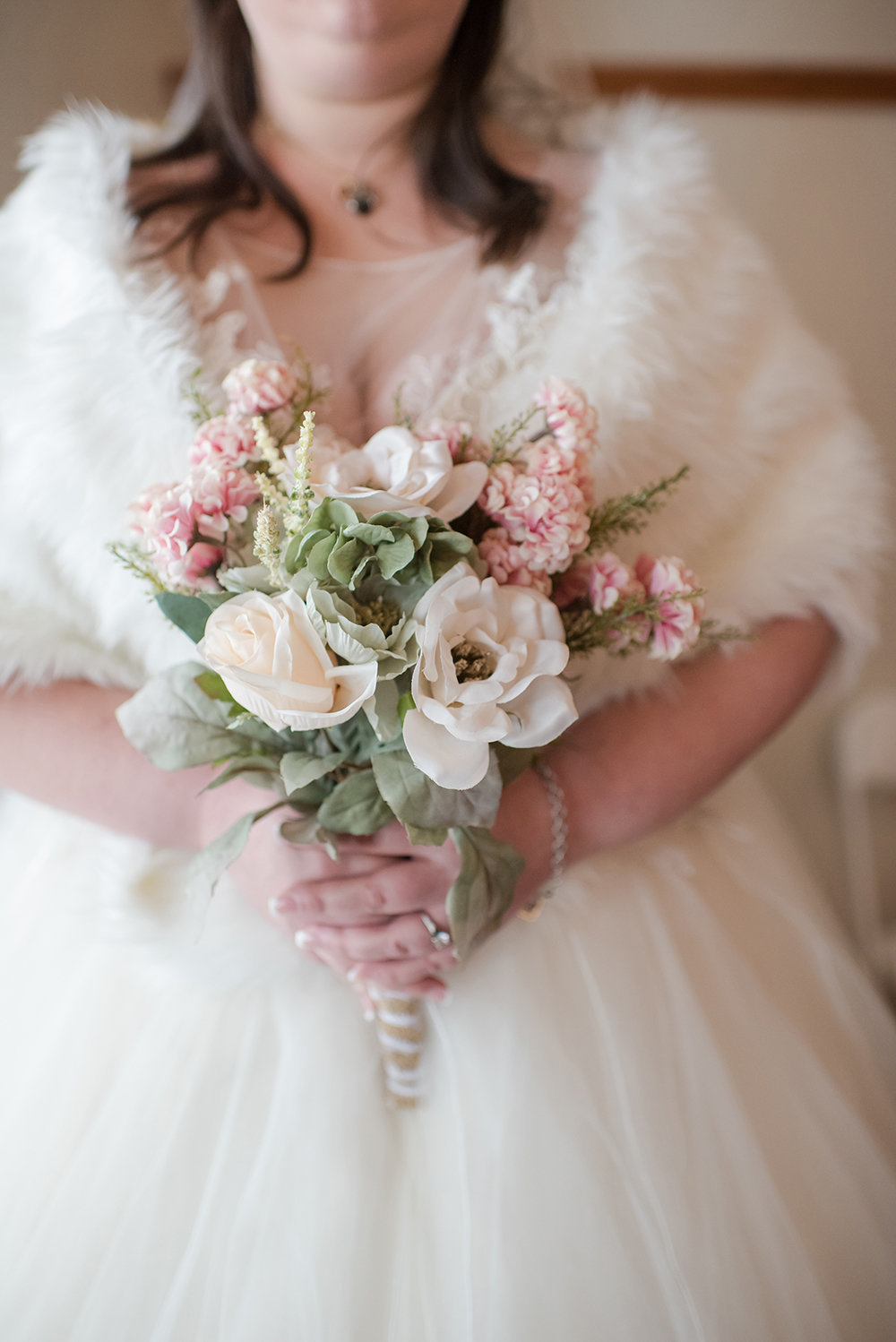 Winter Wedding Bouquet and Bride