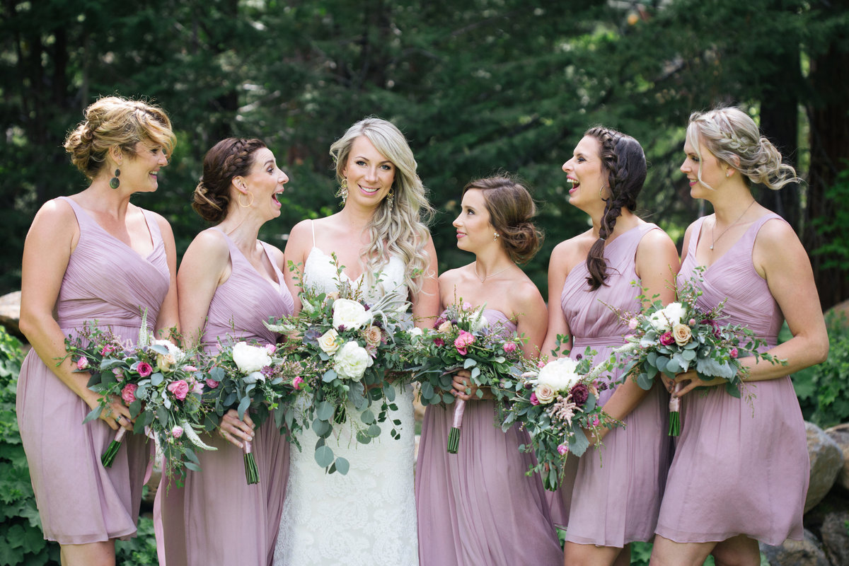 Bridesmaids with blush dresses Lake Tahoe, CA
