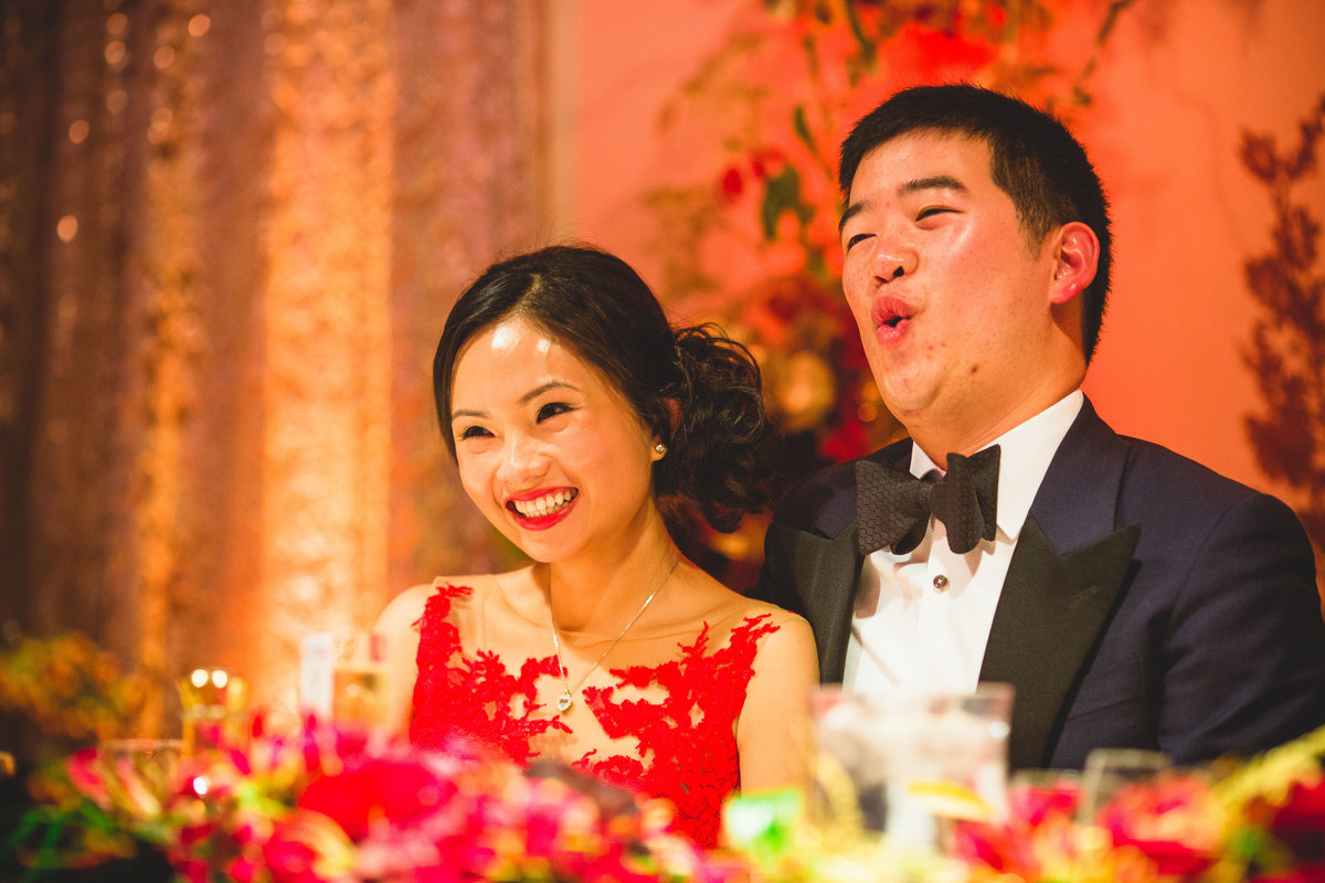 chinese wedding speech tuxedo and red dress