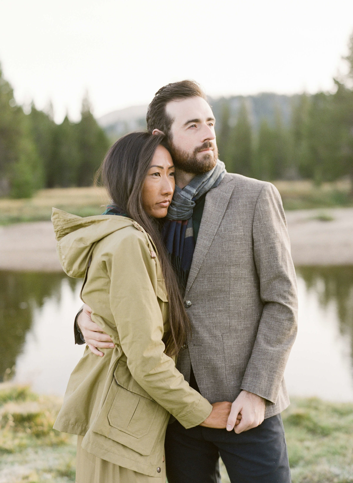 14-KTMerry-destination-engagement-photography-couple-hugging-Yosemite