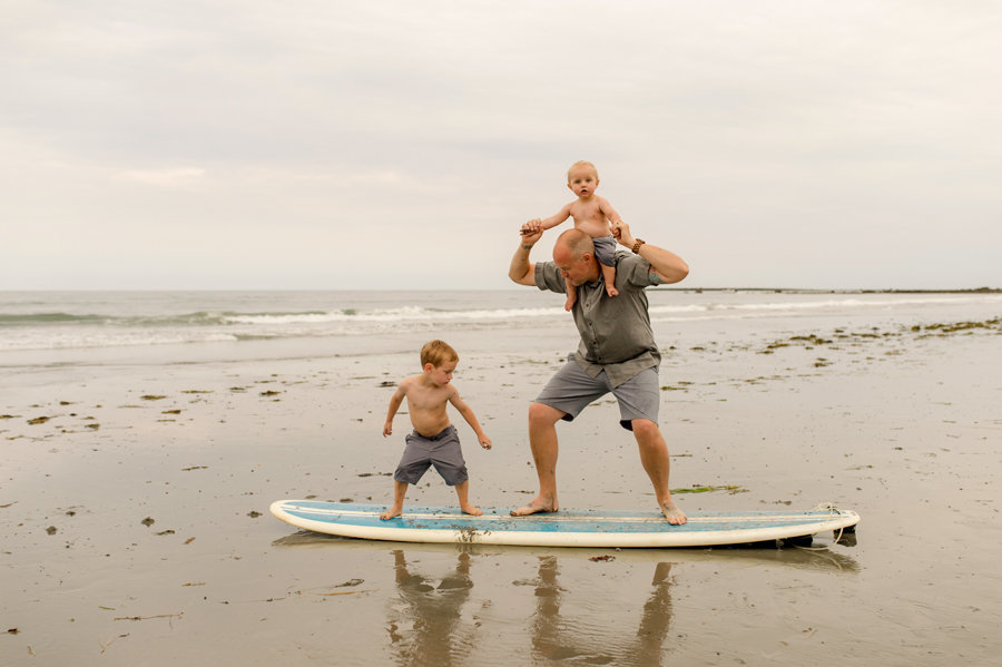 dad and kids on surfboard Rye Beach New Hampshire