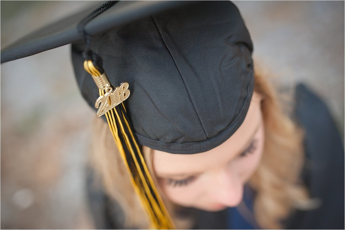 Graduation cap and gown portrait photography by Canton GA senior photographer Amber Watson