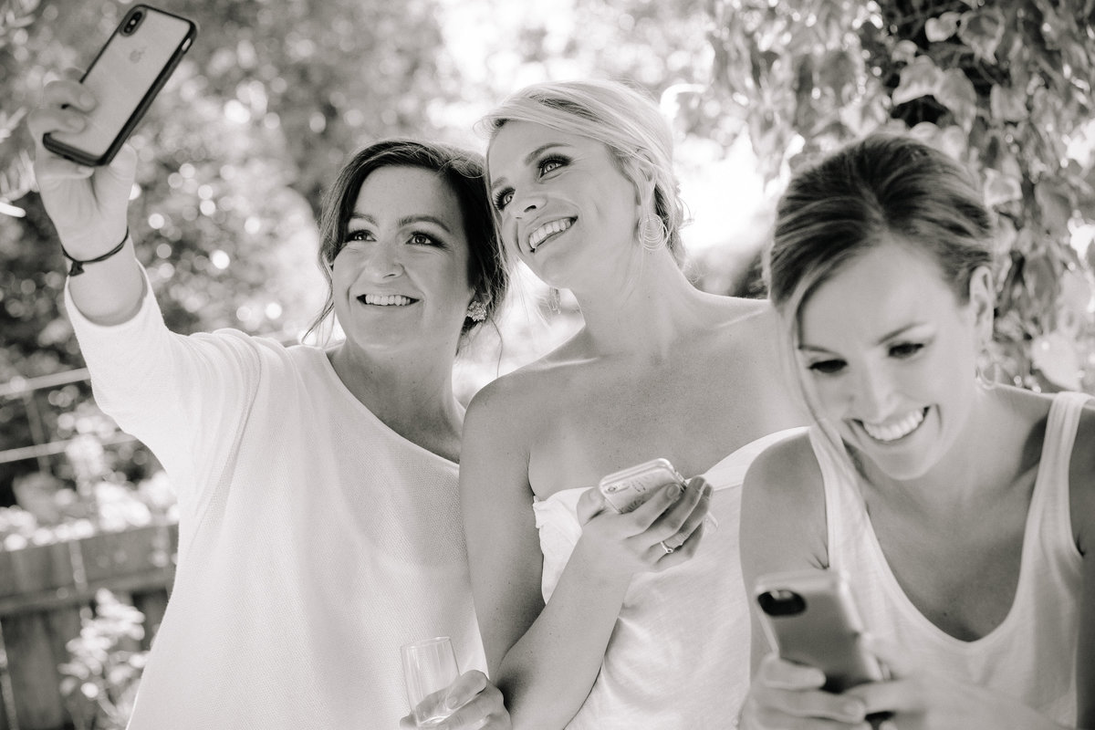 Girls getting ready for a wedding at Beltane Ranch in Sonoma.