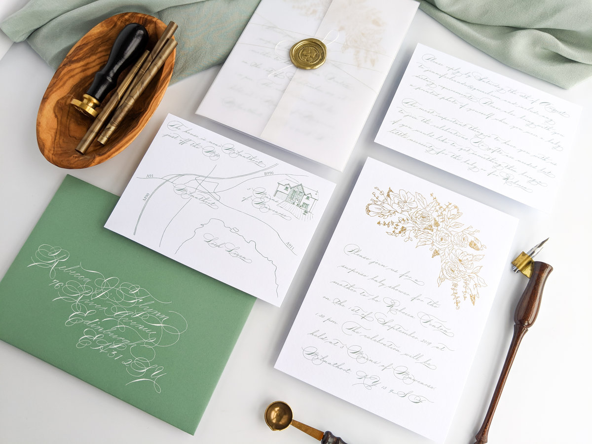 Baby Shower Invitations in green, white and gold by Jenni Liandu Calligraphy