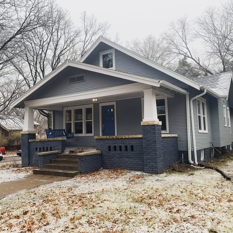 Remodeled grey house in Manhattan, KS