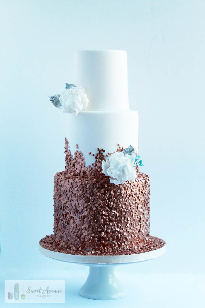 rose gold sequins wedding cake, Hamilton ON wedding cakes