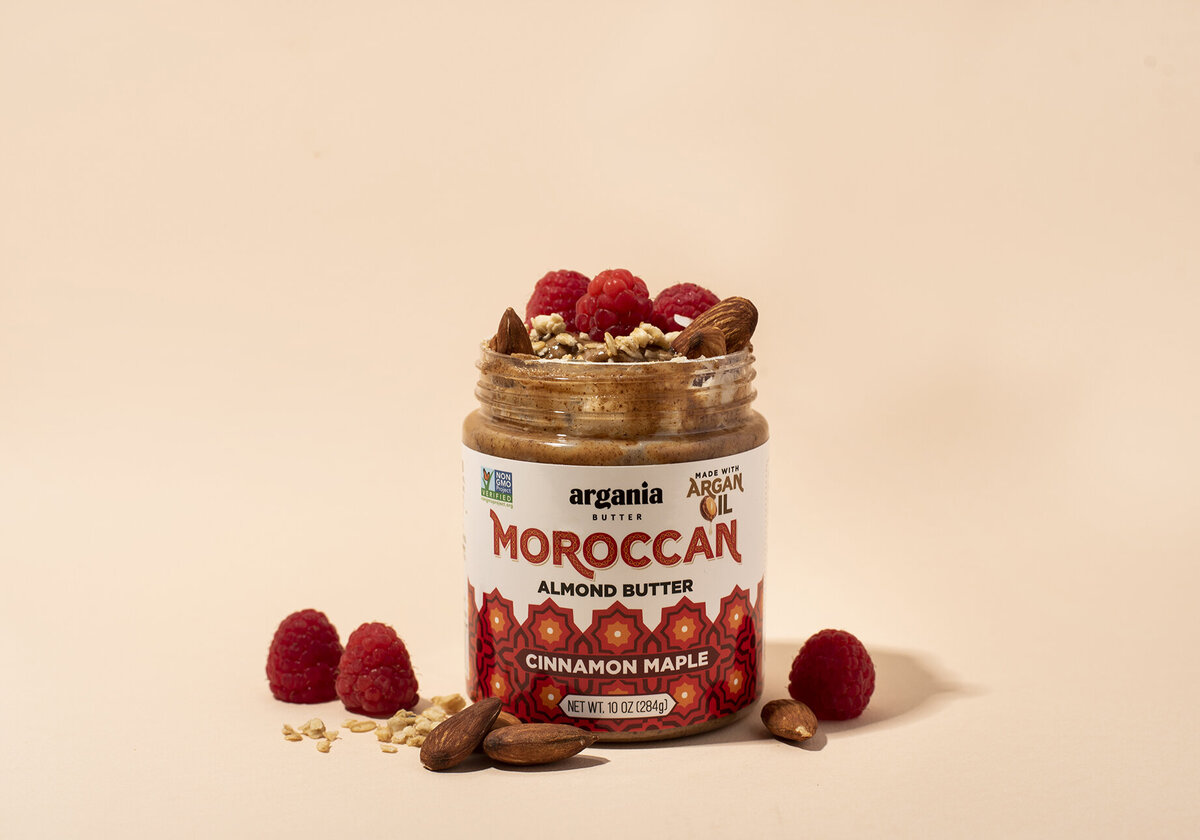 argania butter almond butter product photography