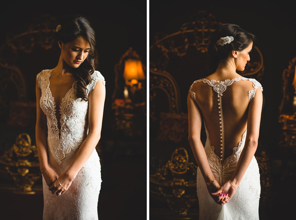 bride in backless lace wedding dress in opulent room at allerton castle
