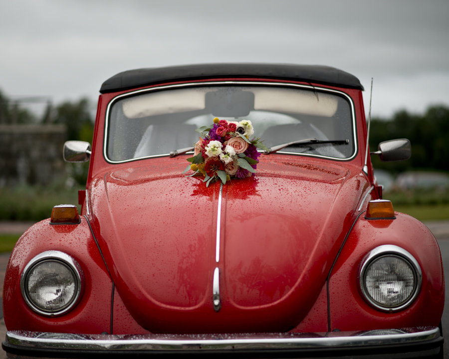 Wedding get Away Car, Red Volkswagon Bug