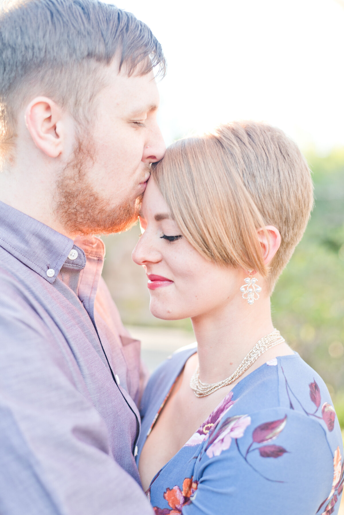 Fort Worth Engagement Couple with Groom Kissing Forehead