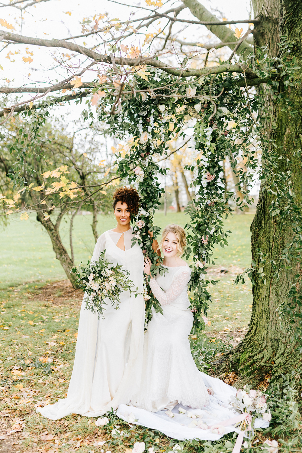 Lush Greenery Wedding Inspired Styled Shoot at Cornman Farms Brides with Flower Garland