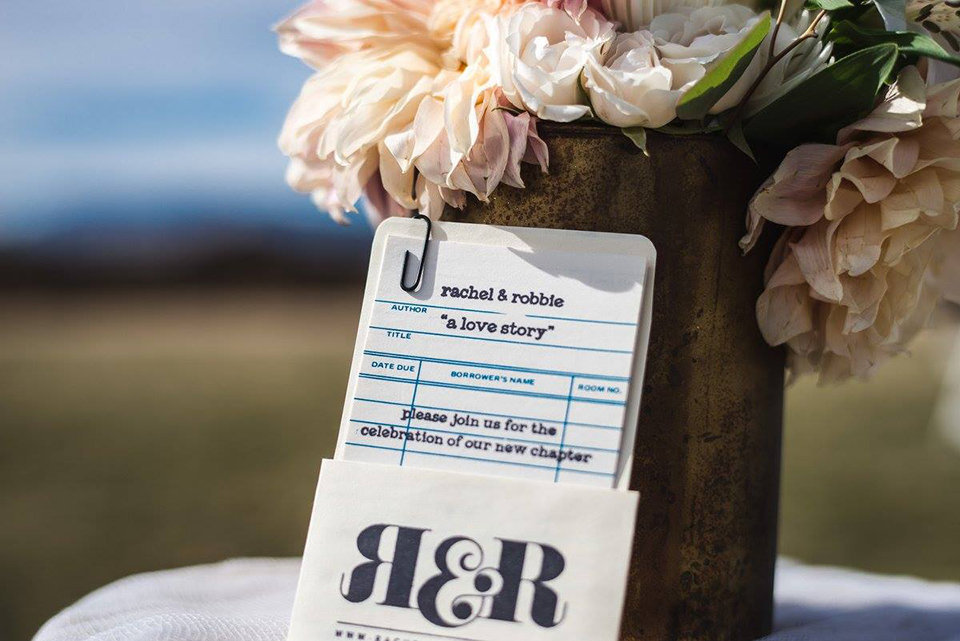 Granby-colorado-strawberry-creek-ranch-hipster-mountain-wedding-a-love-story-library-checkout-card