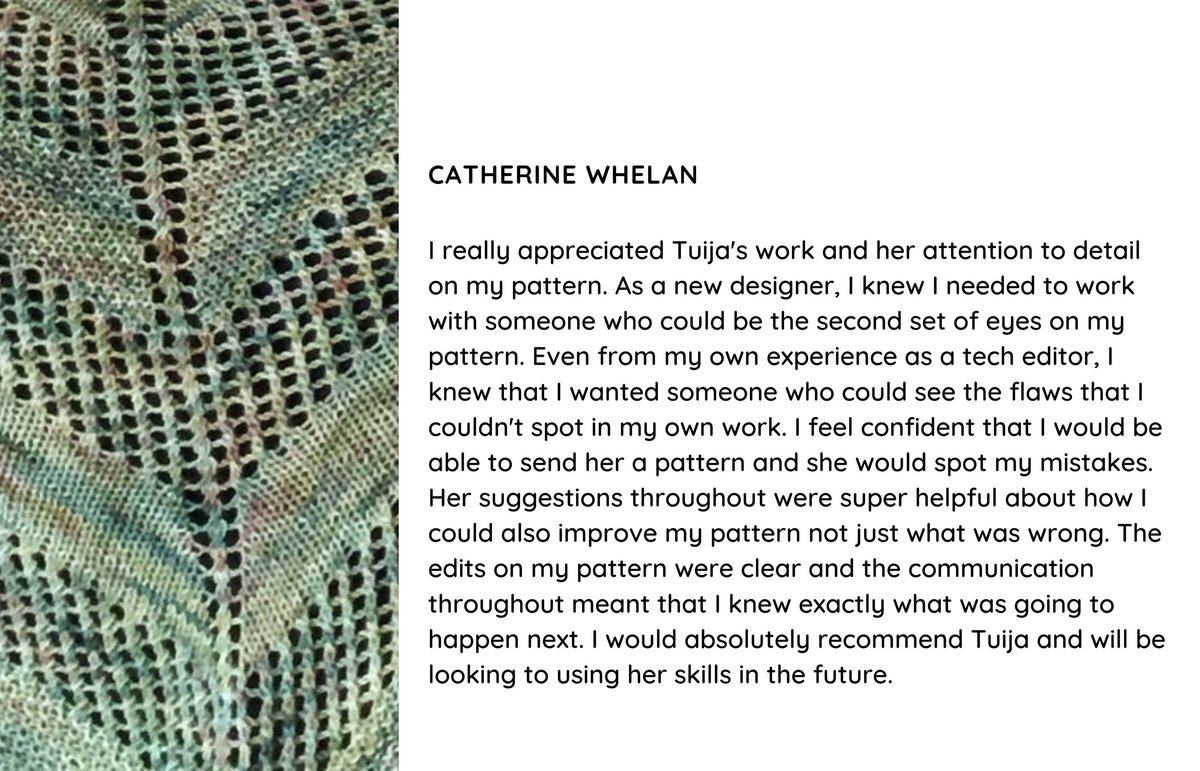Testimonial for tech editing the In the forest shawl knitting pattern
