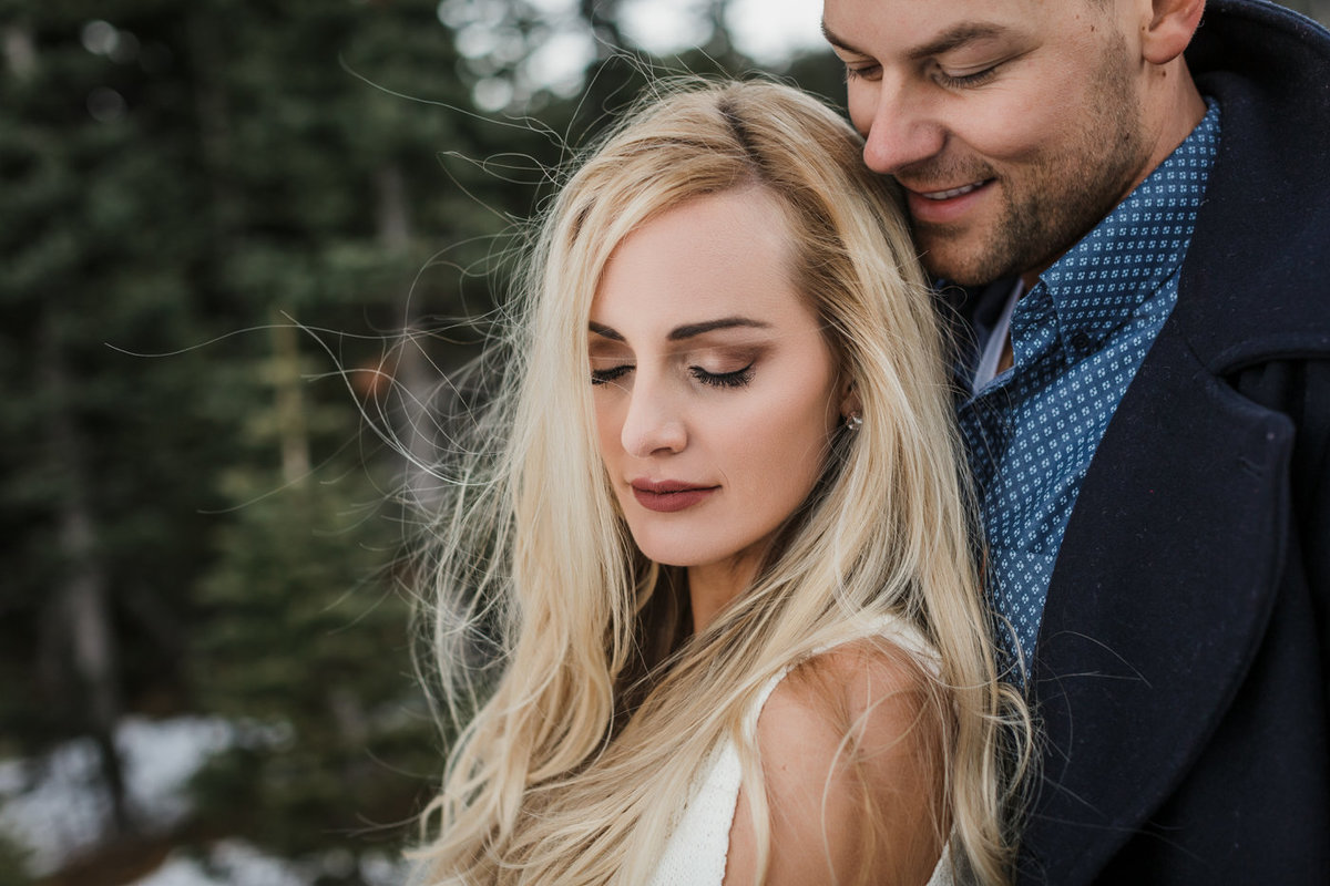 Snowy Mount Rainier Engagement Photos-37