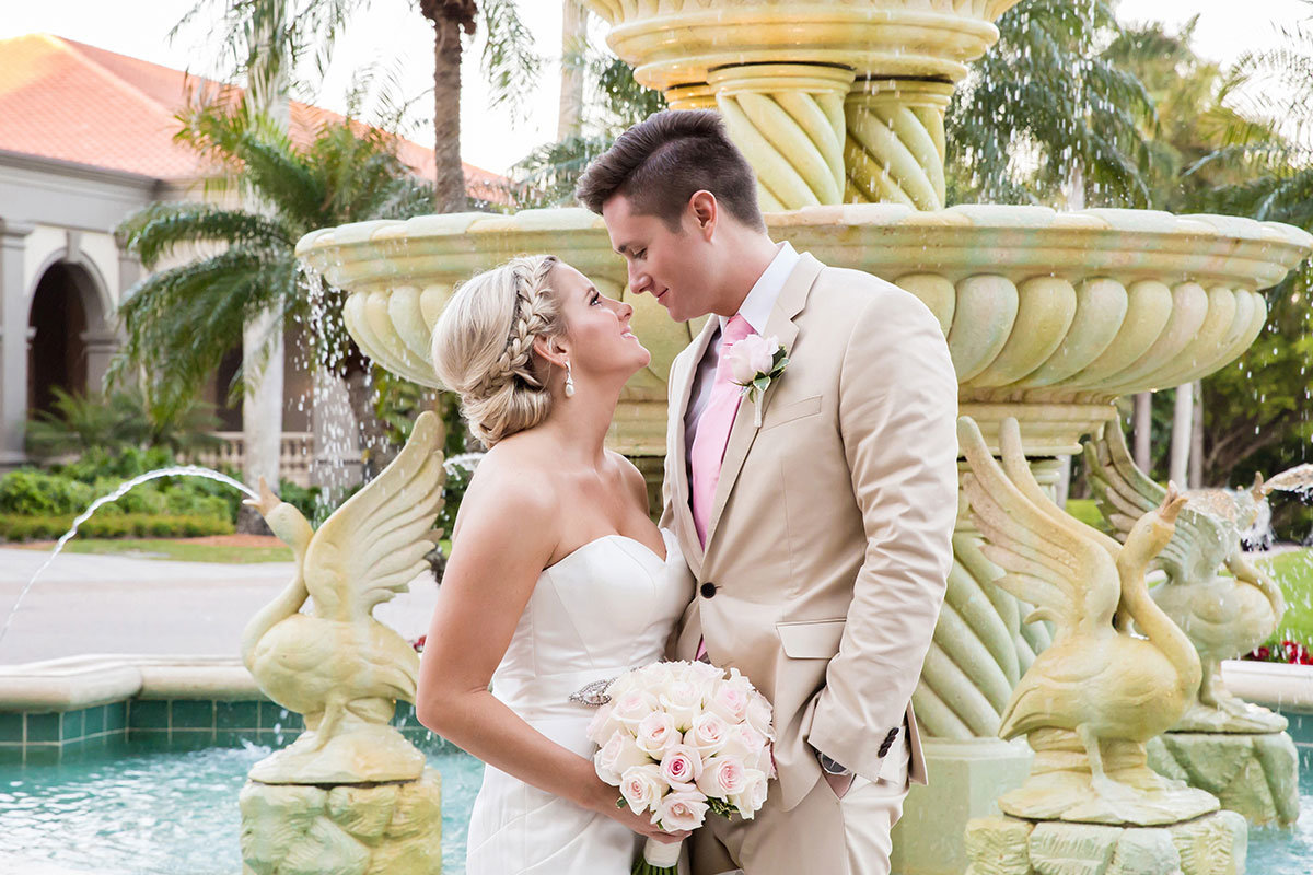 ritz carlton naples florida wedding fountain portrait