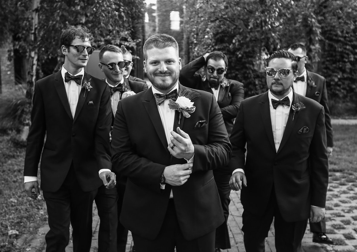 Groom and his groomsmen in Modern Tool Square in Downtown Erie, PA