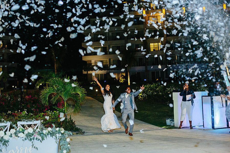 bride and groom entrance, st lucia wedding