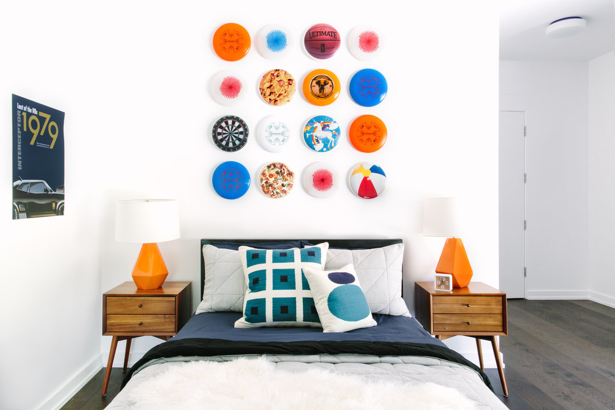 Navy and orange modern boys bedroom